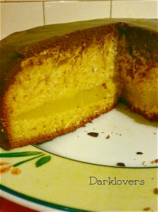 Orange cake with frosting chocolate